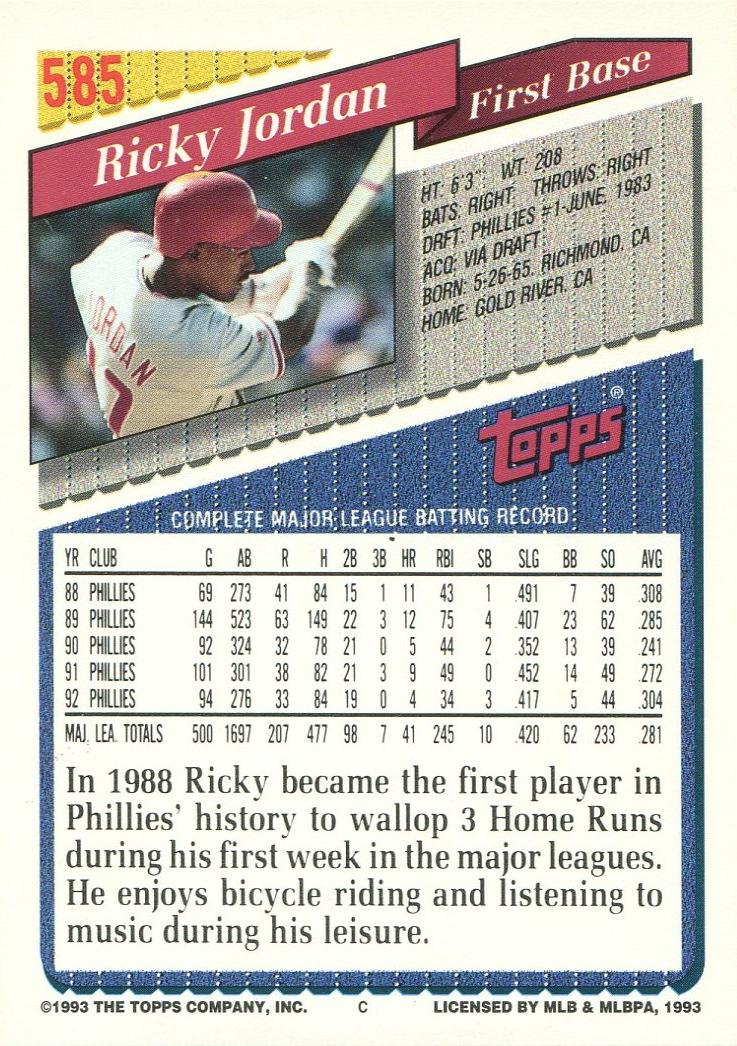 Ricky Jordan 14000 Phillies