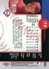2002 Fleer Triple Crown Burrell Back