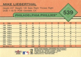 2005 Fleer Lieberthal Back