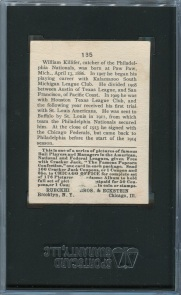 1915 Cracker Jack Killifer Back