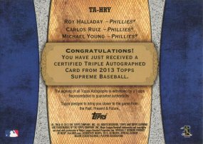 2013 Topps Supreme Triple Auto Phils Back